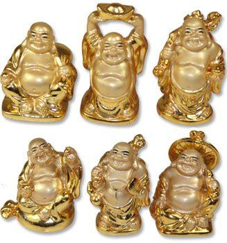 GOLD SMALL BUDDHA STATUES – SET OF 6