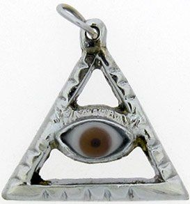 PENDANT BROWN EYE IN SILVER TRIANGLE PYRAMID