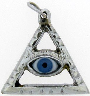 PENDANT BLUE EYE IN SILVER TRIANGLE PYRAMID