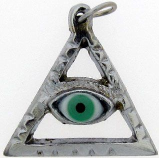 PENDANT GREEN EYE IN SILVER TRIANGLE PYRAMID
