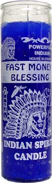 7 DAY GLASS CANDLE FAST MONEY BLESSING INDIAN SPIRIT - BLUE