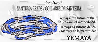 SANTERIA BEAD NECKLACE YEMAYA BLUE AND CLEAR