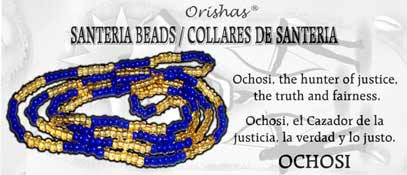 SANTERIA BEAD NECKLACE OCHOSI BLUE AND AMBER