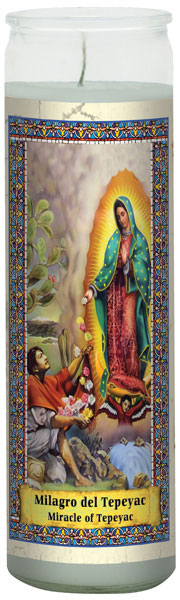 CANDLE ETERNALUX MIRACLE OF TEPEYAC-WHITE