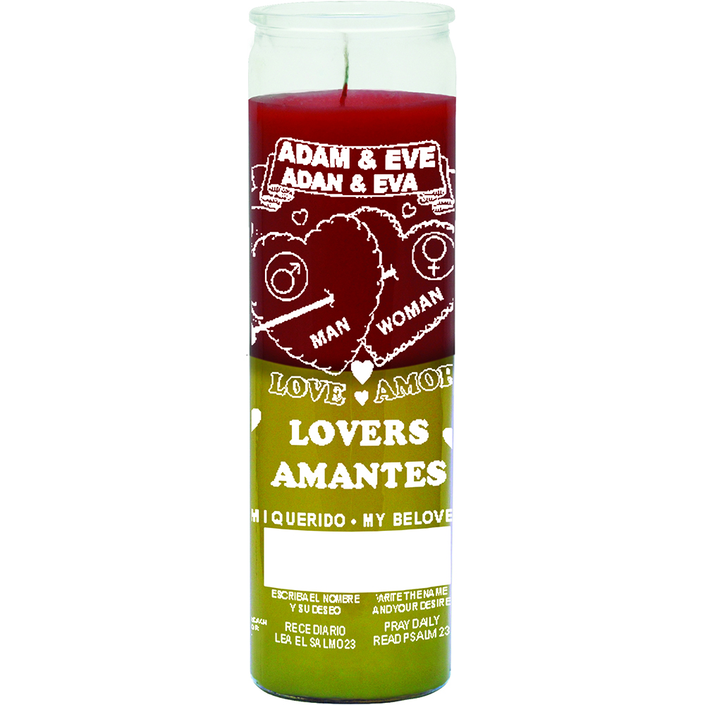 7 DAY CANDLE 2 COLOR ADAM & EVE LOVERS - RED / YELLOW
