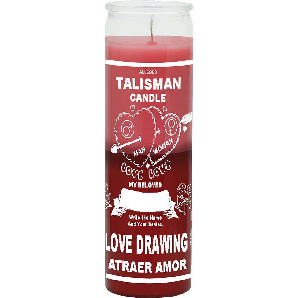 7 DAY CANDLE 2 COLOR LOVE DRAWING - PINK / RED