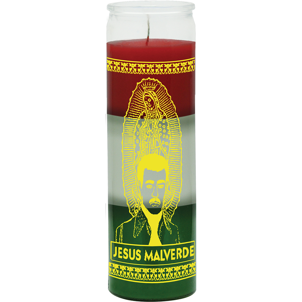 7 DAY CANDLE 3 COLORS JESUS MALVERDE - RED / WHITE / GREEN